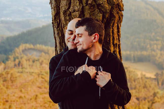 Веселая гомосексуальная пара, обнимающая дерево в лесу и живописный вид на долину — стоковое фото