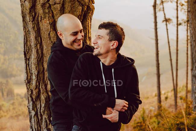Веселая гомосексуальная пара обнимается и смотрит в камеру возле дерева в лесу и живописный вид на долину — стоковое фото