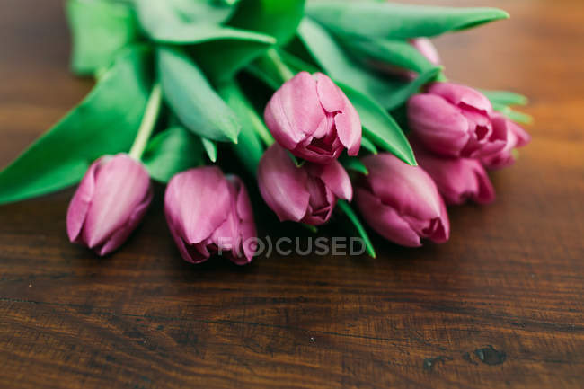 Bouquet of fresh pink tulips on wooden surface — Stock Photo