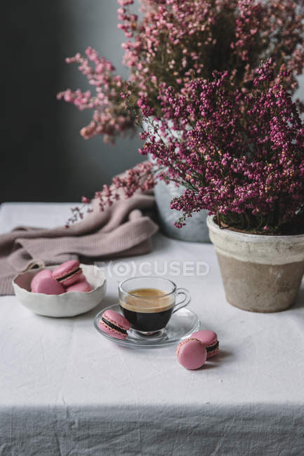 Cup of espresso with macaroons — Stock Photo