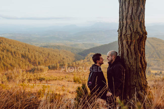 Cheerful homosexual couple standing and looking at each other near tree in mountains — Stock Photo