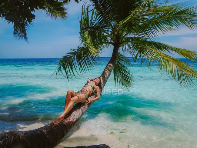 Attraente giovane donna sdraiata su un tronco di palma sulla riva del mare a Maldivas spiaggia tropicale — Foto stock