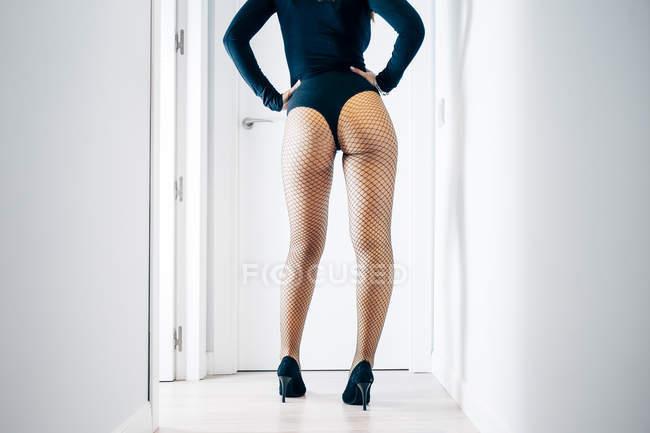 Rückansicht von provokanten Weibchen mit perfekten Gesäß tragen erotische Body und Netz Strumpfhosen und posiert — Stockfoto