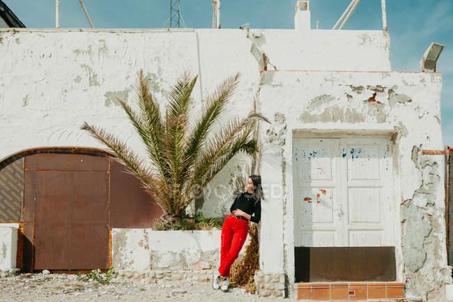 Giovane donna riflessiva appoggiata sulla parete squallida della vecchia casa vicino a palma esotica nella giornata di sole — Foto stock