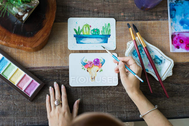 Mexican watercolor, cactus and cattle cow paintings. — Stock Photo