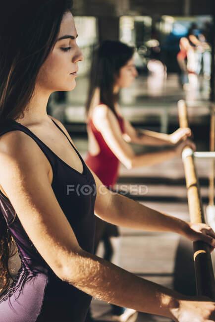 Вид сбоку уверенных серьезных танцоров, практикующих балет на солнце. — стоковое фото