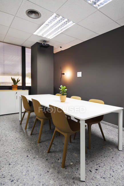 Cadeiras e mesa branca com planta envasada dentro do escritório moderno elegante — Fotografia de Stock