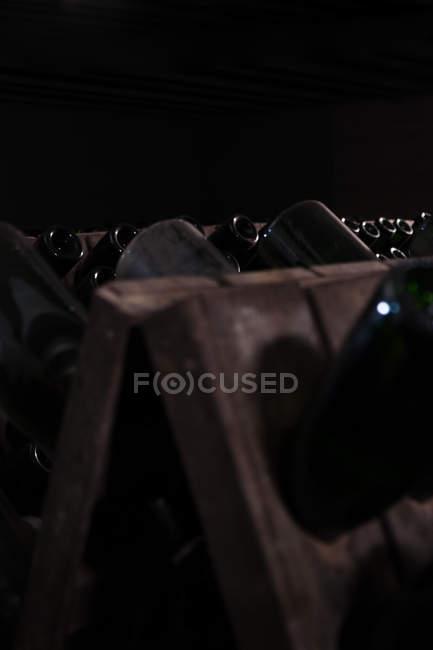 Shelf with wine bottles on dark background — стоковое фото