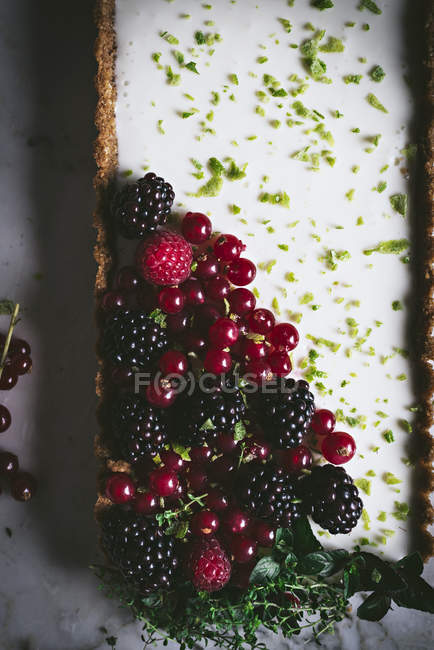 Lime pie with fresh berries on white marble surface — Stock Photo