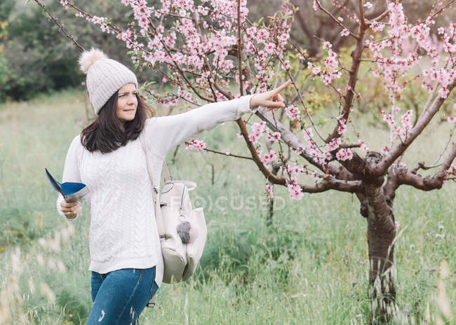 Female traveler with backpack and guide booklet pointing with finger near blooming tree in spring countryside — стокове фото