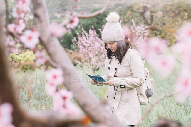 Female traveler with backpack reading guide booklet while walking near blooming trees in spring countryside — стокове фото