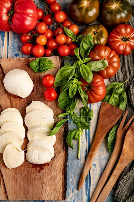 Tomates frescos y queso mozzarella con hojas de albahaca para ensalada sobre tabla y tela de madera - foto de stock