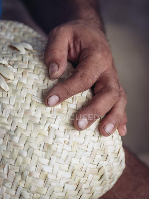 Hand of anonymous artisan showing lovely basket braided from dried palm fiber — Stock Photo