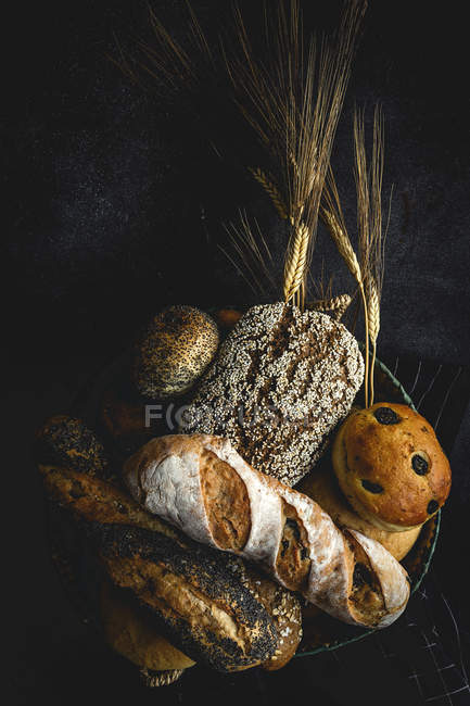 Assortment of homemade freshly baked bread loaves on black background — Stock Photo