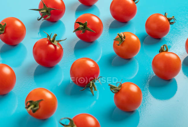 Fresh ripe tomatoes on scattered on blue background — Stock Photo