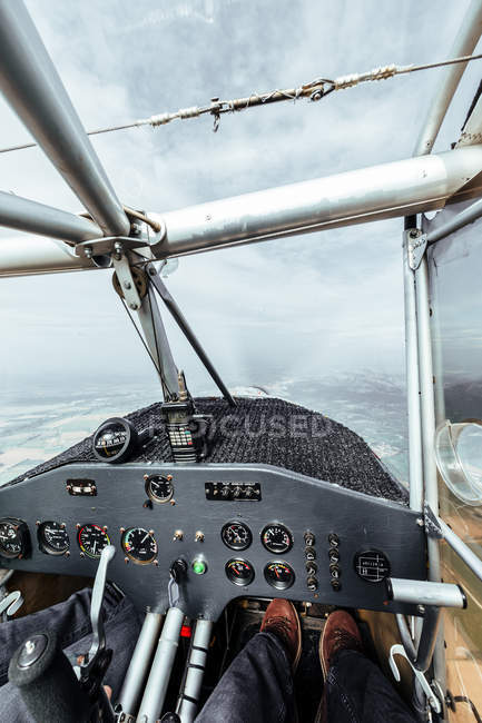 View of instrument panel inside a cabin of a small plane — Stock Photo