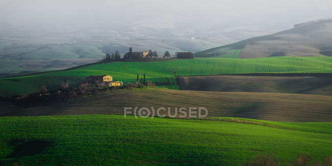 Panoramic view of endless green fields and hills, Italy — Stock Photo