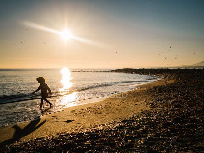 На заході сонця силует невпізнаної дівчини, що йде берегом моря. — стокове фото