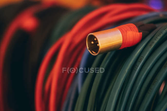 Closeup of colorful music sound stereo cables in studio — Stock Photo