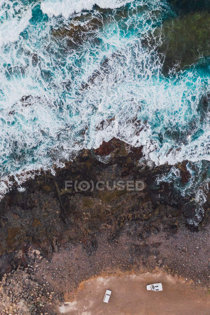 Top view of sea coast with cliffs — Stock Photo