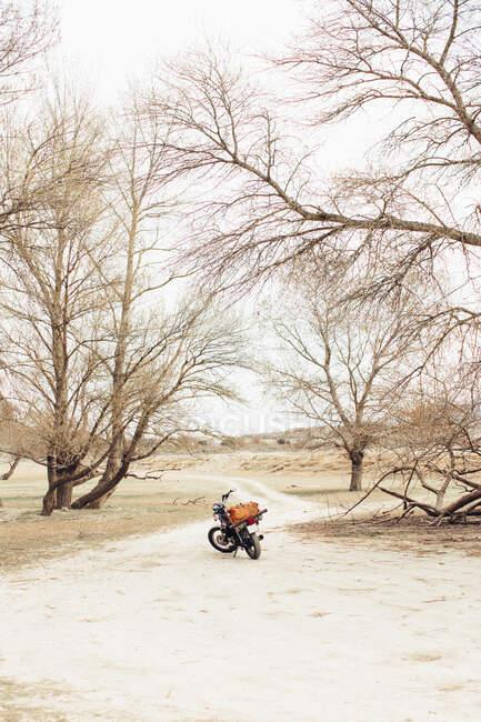 Moto situato sulla stretta strada di campagna in campo asciutto durante il viaggio nella natura — Foto stock