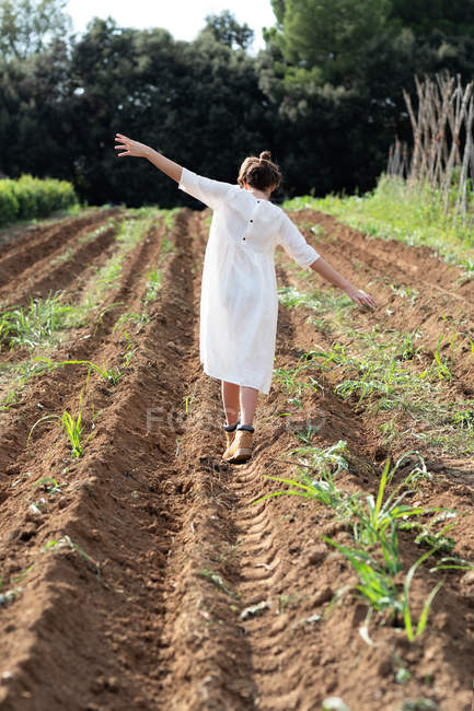 Back view of teen girl with outstretched arms balancing while walking near sprouts on agricultural field — стокове фото