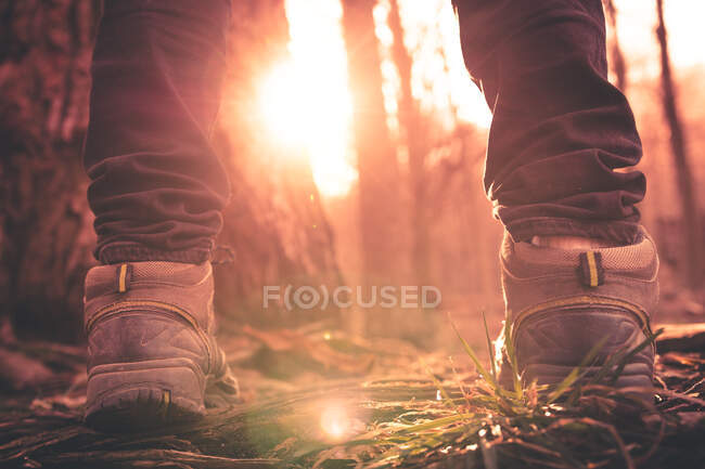 Close-up feet on the mountain — Stock Photo