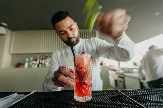 Bartender preparing alcoholic drink in a bar — Stock Photo