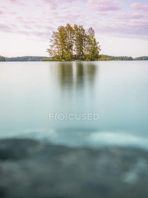 Charming and calm landscape with lake and deciduous tree island in Finland in summer day — Stock Photo