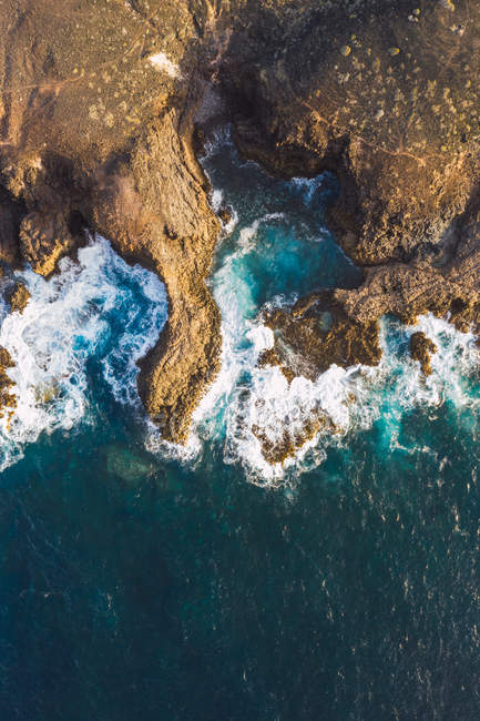 Aerial view of sea coast with cliffs — Stock Photo