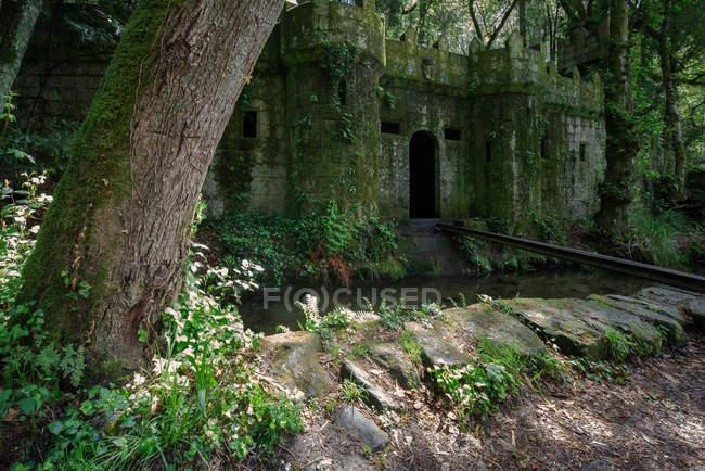 Руины замка в Галицких мифологических горах, Алдан, Испания — стоковое фото