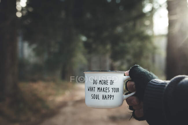 Crop hand with motivational mug in forest — Stock Photo