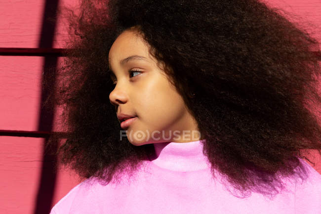 Profile of dreamy african american girl — Stock Photo