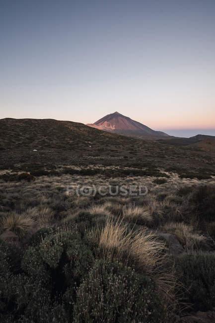 Гірський пік в долині пустелі на заході сонця — стокове фото