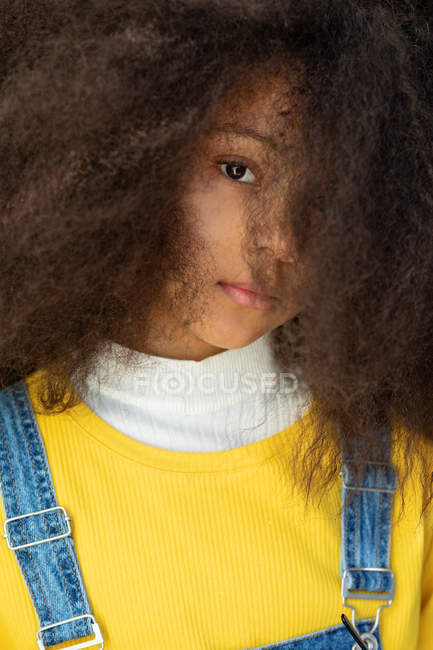 Portrait of serious and dreamy African American girl with loose curly hair looking at camera — Stock Photo