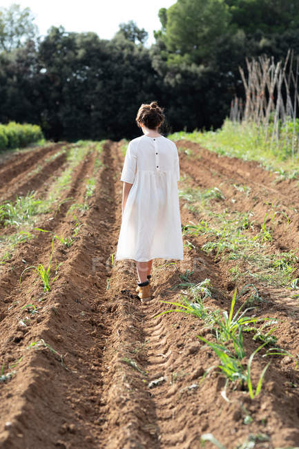 Back view of teen girl walking near sprouts on agricultural field in orchard in Catalonia, Spain — Stock Photo