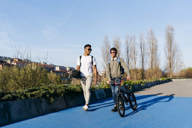 Young African American smiling successful men in casual apparel and stylish sunglasses walking in city with bicycle and skateboard — Stock Photo