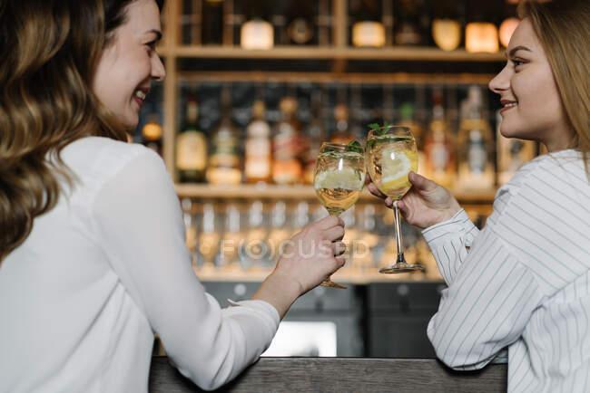 Visão traseira de duas amigas sorrindo e batendo copos de coquetéis de álcool enquanto passavam tempo no bar do restaurante acolhedor — Fotografia de Stock