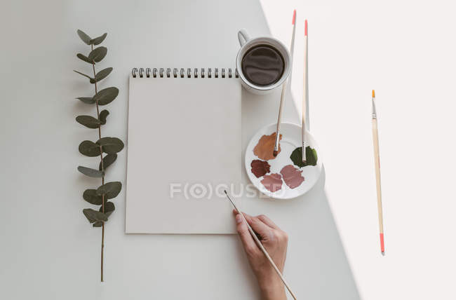 Top view of person hand with brush painting watercolor plants on blank sheet at desk — Stock Photo