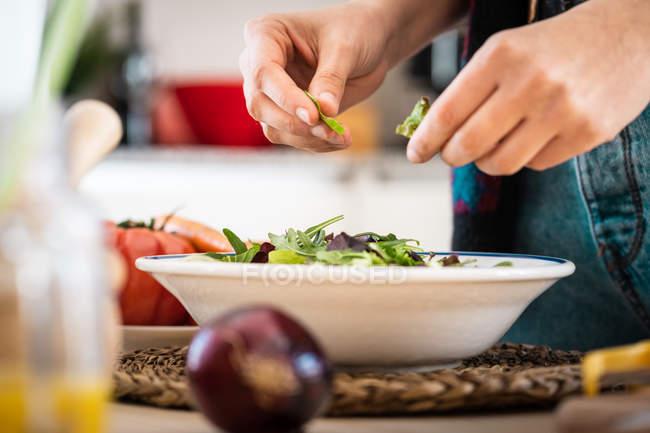 Обрезанный образ женщины в разноцветной куртке, готовящей овощи во время приготовления здорового салата на кухне — стоковое фото