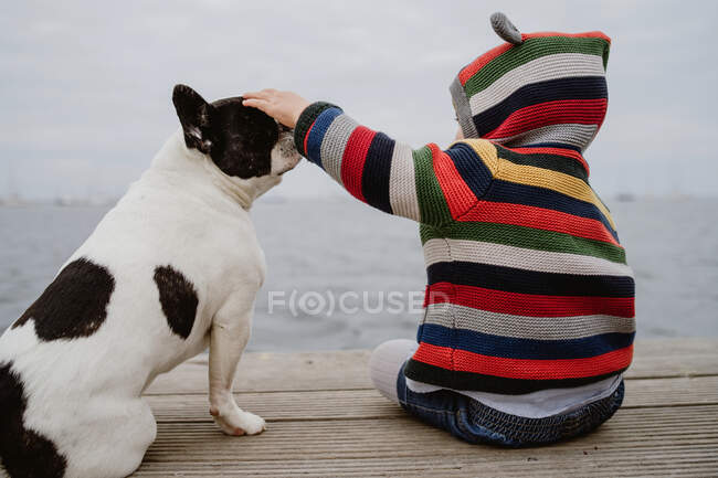Back view of unrecognizable kid in striped jacket patting spotted French Bulldog while sitting on lumber pier near sea — Stock Photo