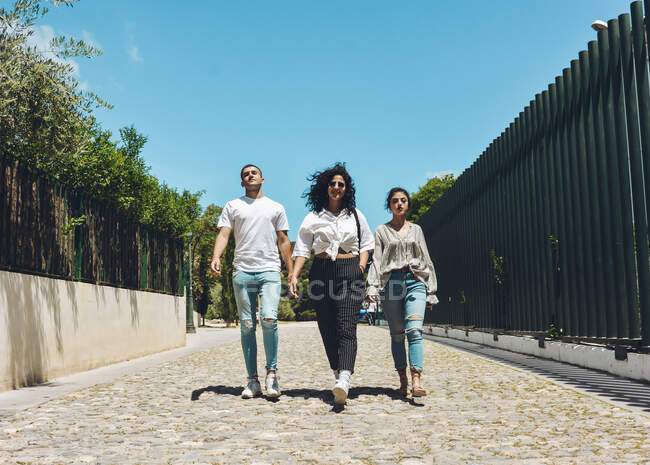 Group of friends posing serious and insulting the camera. real people on a sunny day — Stock Photo