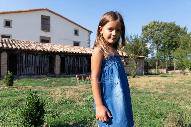 Linda niña con el pelo largo en vestido de mezclilla de pie en el patio de la granja con gallinas que caminan en el día de verano soleado - foto de stock