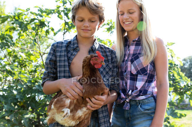Teen boy and girl in checkered shirts and denim shorts smiling and petting hen while standing near green bushes on sunny day on farm — Stock Photo