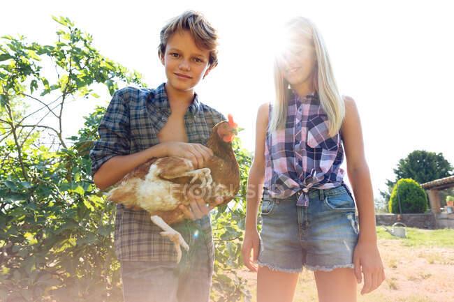 Мальчик и девочка в клетчатых рубашках и джинсовых шортах улыбаются и ласкают курицу, стоя рядом с зелеными кустами в солнечный день на ферме — стоковое фото
