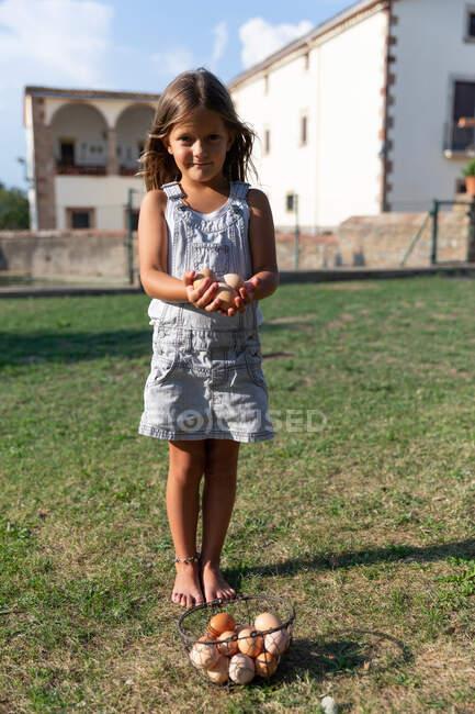 Маленькая девочка несет корзину с яйцами на ферме и смотрит в камеру — стоковое фото