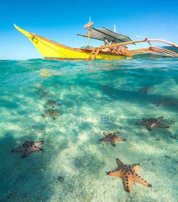 Barca gialla con turisti e vista pittoresca attraverso l'acqua blu delle stelle marine sul fondo sabbioso — Foto stock