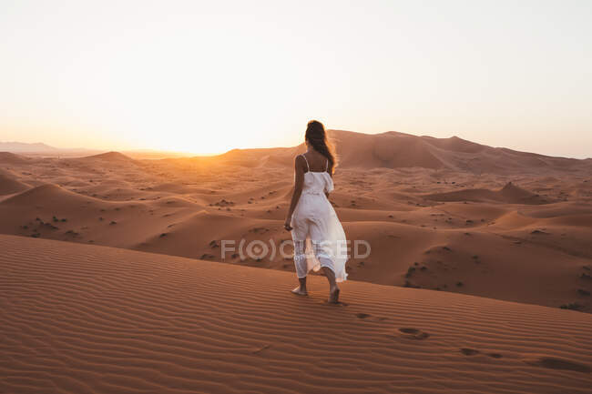 Back view of barefoot woman in white summer dress walking on sandy dune of endless desert in sunset, Morocco — Stock Photo