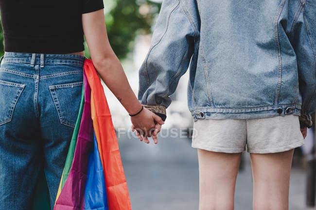 Vue arrière des femmes cultivées avec le drapeau LGBT tenant la main tout en se tenant sur fond flou de la rue de la ville — Photo de stock