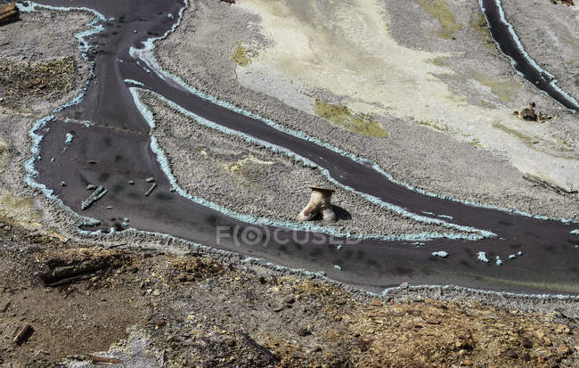 Aerial view of blue rusty mountain streaks in Mines of Riotinto, Huelva — Stock Photo